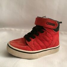 Osiris Hi Top Canvas Skateboard Shoes Boys 1 Med Youth Red Black White Sneakers