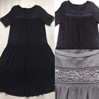 Next Bohemian Tiered Peasant Dress Black UK 8