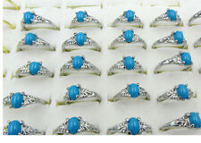 FREE Wholesale 10Pcs Blue Resin Turquoise style Silver Plated Rings