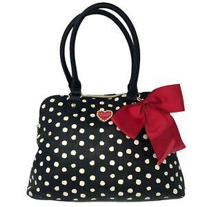 Betsy Johnson Purse Handbag Satchel Black  White Polka Dots Red Bow