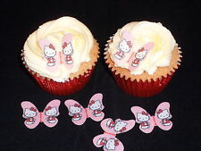 24 Pretty Hello Kitty Butterflies **PRECUT** Edible Cup Cake Toppers