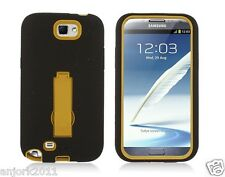 Samsung Galaxy Note II 2 Hybrid S Armor Case Skin Cover w/ Stand Black Yellow