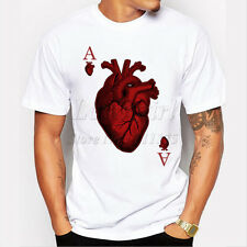 heart poker t-shirt Harajuku funny tee shirts Hipster O-neck cool tops