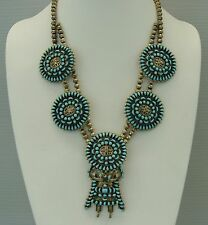 Authentic Artisan Signed- ZUNI SILVER AND TURQUOISE NEEDLEPOINT NECKLACE-NEW