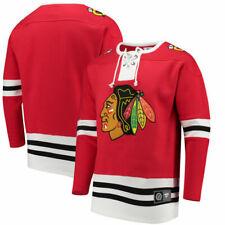 Chicago Blackhawks Fanatics Red Lace Up Fleece Hockey Jersey Sweatshirt