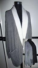 ❤️ Damen Long Strick Jacke Strickjacke Cardigan schwarz grau Plüsch 46 48 NEU