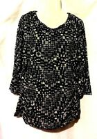 WOMEN'S STYLE & CO BLACK & WHITE 3/4 SLEEVE WITH RUCHED SIDES LINED TOP SIZE XL