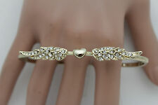 Women Gold Metal Band Fashion Ring 4 Fingers Hand Angel Eagle Wings Heart Love