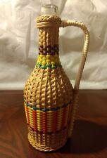 """Colorful Wicker Wrapped Demijohn 8"""" Clear bottle"""