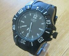 NEW MENS LIMIT WATCH BLACK DIAL 200 MTRS WATER RESISTANT BLACK SILICON STRAP