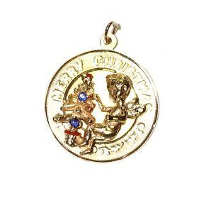 14k yellow gold Merry Christmas Tree Cherub sapphire gemstone pendant slide 4.9g