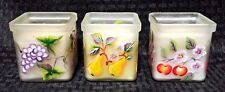 3 Handpainted Frosted Glass Candleholders With Candles - Fruit Decor - Sonoma