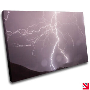 STORM LIGHTNING FLASH CANVAS Wall Art Picture Print A4