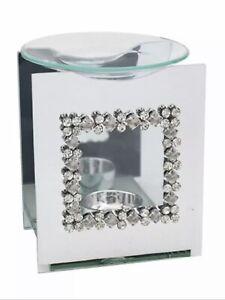 Square Diamanté Mirror Gem Oil Burner Aroma Fragrance Free Wax Melt & Tea Light