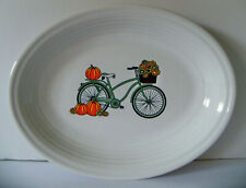 """Dept.Store Exclusive Fiesta FALL BICYCLE HARVEST Decal 11.5"""" Platter NEW w/ Tag"""