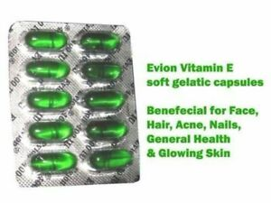 EVION Vitamin E 400 mg Capsules For Face Hair Acne Nails by MERCK Free Ship