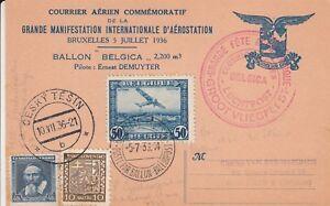 Y3827 Ballonpost cds commemorative July 1936 postcard Luchtpost  Bruxelles