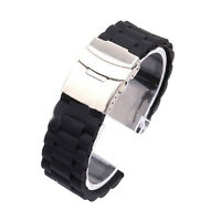 Cool Mens Silicone Rubber Band Waterproof  Watch Strap with Deployment Clasp Hot