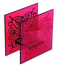 Lot de 2 Bougeoirs en Verre Rouge avec motif Noir Décoration maison