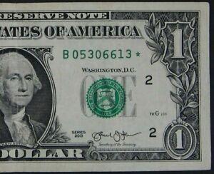 "2013 $1 (ONE DOLLAR) – STAR NOTE – CURRENCY, BILL – ""B"""