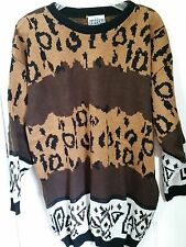 VINTAGE Oversized Long Leopard Print Sweater Dress Knit Pullover 1980s Large