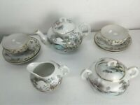 Vintage Lot Handpainted Japan Lusterware Teapot Sugar Bowl Creamer Cup Saucers