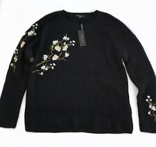 Romeo & Juliet Couture Floral Embroidered Black Sweater Size XL Crew Ribbed NEW