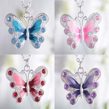 5Pcs Silver Plated Enamel Crystal Rhinestone Butterfly Shape Charms Pendants