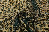 Vintage Beige Verde Saree Puro Crepe Seda Mano con Cuentas Tela Étnicos Sari