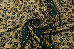 Vintage Beige Vert Saree Pure Crêpe Soie Main Perlé Tissu Ethnique Sari Couture