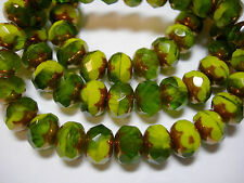 25 8x6mm Striking Green Mix with Bronze Czech Glass Fire polished Rondelle beads
