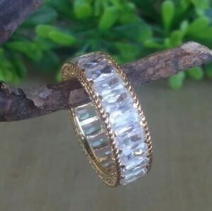 Judith Ripka 14k Clad Sterling Silver Baguette Eternity Band Ring Size 7.75