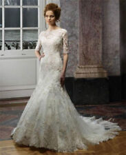 Vintage Lace Applique Mermaid Wedding Dresses Half Sleeves Bridal Dress UK 4-24