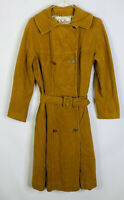 VTG 70s Women's Large Faux Suede Double Breast Trench Coat Mustard Yellow Belt