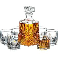 7-Piece Italian Crafted Glass Decanter & Whisky Glasses Set, With Stopper