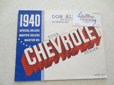Original 1940 Chevrolet Special & Master Deluxe automobile advertising booklet