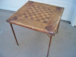 ANTIQUE CHECKERBOARD CARD TABLE FOLDING WOOD LEGS - WOOD FRAME