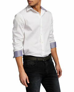 New EMPORIO ARMANI Slim Fit Stretch Solid Button-Up Shirt, XXL, White