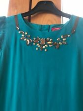 joules girls party dress teal green size 11-12