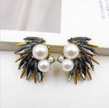 Vintage Women Gray Resin Pearl Wing Flower Ear Stud Earrings Fashion Jewelry