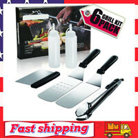 6 Piece Stainless Steel Grill Griddle Accessories BBQ Tool Kit for Cooking