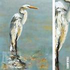 "24W""x32H"" HERONS I by GEORGIE - LONG-LEGGED COASTAL BIRD OCEAN WILDLIFE CANVAS"