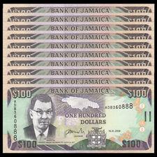 Lot 10 PCS, Jamaica 100 Dollars, 2006, P-84b, UNC