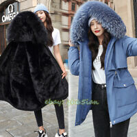 Womens Fur Lined Padded Parker Coat Ladies Long Sleeve Hooded Jacket Winter Warm
