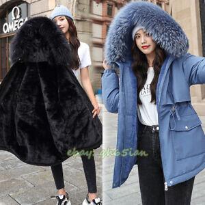 Womens Fur Lined Padded Parker Coat Ladies Long Sleeve Hooded Jacket Winter Warm