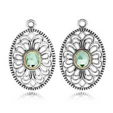 NEW! Authentic Pandora Vintage Allure Green Spinel Compose Earrings #290678SSG