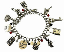 Disney Themed Wishes and Dreams Silvertone 11 Metal Charm Bracelet