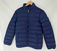 """Jacket Mens Boys Coat Size XS Navy Blue Quilted Pockets Full Zip Warm 34"""" Chest"""