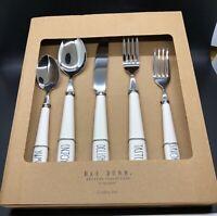 Rae Dunn WHITE YUM ENJOY DELISH TASTE SAVOR Cutlery Silverware Flatware Utensil
