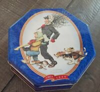 VINTAGE 1997 SNICKERS CANDY TIN, CHRISTMAS NORMAN ROCKWELL 1949  LIMITED EDITION
